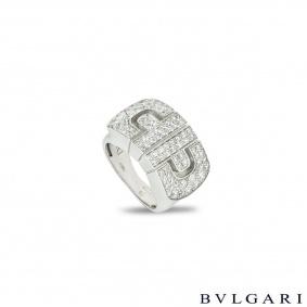 Bvlgari White Gold Diamond Parentesi Ring Size 47